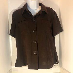 Sag Harbor Button-Down Pocket-Front Blouse